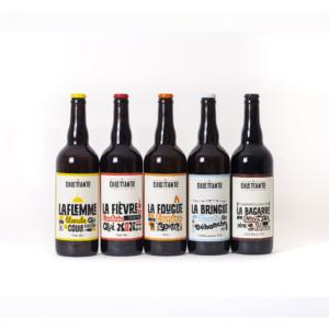 Pack de nos permanentes 75cl incluant La Flemme, La Fougue, La Bringue, La Fièvre et la Bagarre de la brasserie La Dilettante dans le Morbihan