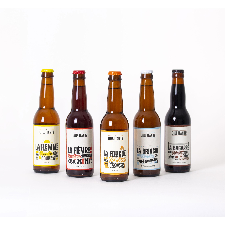 Pack de nos permanentes 33cl incluant La Flemme, La Fougue, La Bringue, La Fièvre et la Bagarre de la brasserie La Dilettante dans le Morbihan
